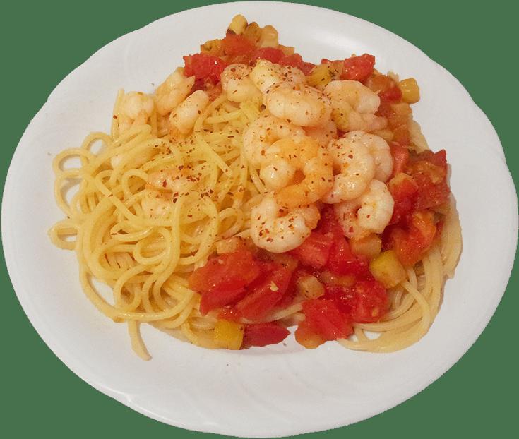 Spaghetti mit Gambas in Orangenlikör