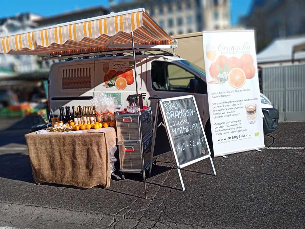 Bild: Stand am Bauernmarkt Naschmarkt Wien